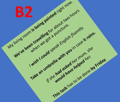 Különböző szinteken elvárt nyelvtani szerkezetek (B2)